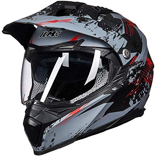 ILM Off Road Motorcycle Dual Sport Helmet Full Face Sun Visor Dirt Bike ATV Motocross DOT Approved (L, Grey-Red)