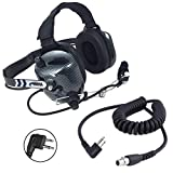 Rugged Radios H41-CF Carbon Fiber Style Behind The Head Two Way Radio Headset with CC-MOT Coil Cord Cable for Motorola 2-Pin Radios