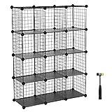 SONGMICS Metal Wire Cube Storage,12-Cube Shelves Organizer,Stackable Storage Bins, Modular Bookcase, DIY Closet Cabinet Shelf, 36.6'L x 12.2'W x 48.4'H, Black ULPI34H