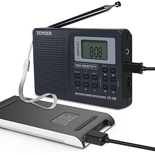 SEMIER Portable Shortwave Travel AM FM stereo Radio with Clock, Alarm, Clear Loudspeaker, Earphone Jack and USB Power Cord (Power Bank Not Included)