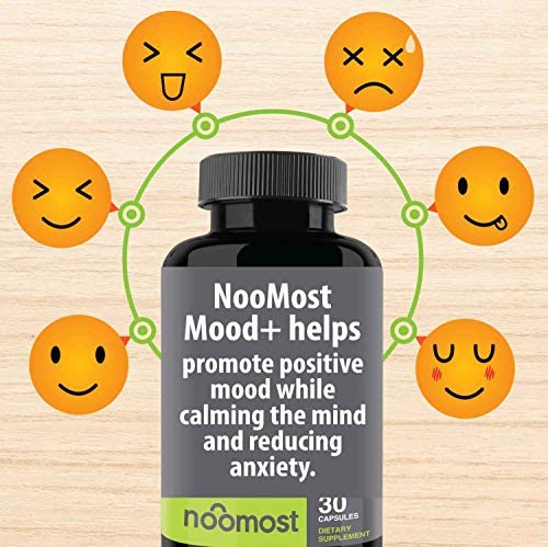 Mood Support - Anxiety Relief Supplement Mood Boosts, Reduces Stress Relief & Depression - L Tyrosine, Ashwagandha, 5 HTP, Passion Flower, L Theanine, GABA, Valerian Root, Rhodiola Rosea by NooMost 5