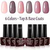 Gellen UV Gel Polish Kit 6 Pastel Colors + Base Coat and Top Coat
