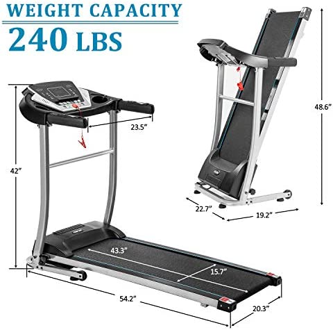 Merax Folding Electric Treadmill Motorized Running Machine Easy Assembly Electric Treadmills for Home, Motorized Fitness Compact Running Equipment with LCD for Home 4