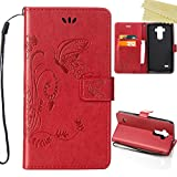 LG G Stylo Case, LG G4 Stylus Cases, AMASELL Emboss Flower Butterfly Preminum PU Leather Wallet with Flip Stand Credit Card ID Holders Case Cover for LG LS770/H631/MS631, Red