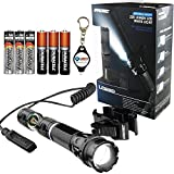 iProtec Nebo 6112 LG220 Tactical LED Flashlight with Universal Mount & Dual Mode Pressure Switch, Includes 6 Nebo AAA Batteries and Lumintrail Keychain Light