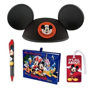 Walt Disney World Trip Gift Set Autograph Book, Pen, Mickey Mouse Ears Hat (Youth) and Luggage Tag