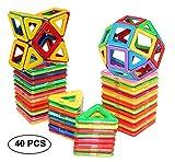 dreambuilderToy Magnetic Tiles Building Blocks Game Set Toys (40 PC Set) (Regular Color)