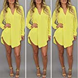 Leinsparn Women Casual Loose Long Chiffon Shirts Spring Long Sleeve Collar Sexy Blouses Tops Plus Size Mini Dress Yellow Xxl