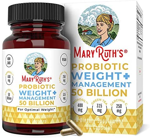Probiotic Weight Management+ by MaryRuth's - 50 Billion CFU - Vegan Gut Health Supplement with Morosil, Garcinia Cambogia & Green Tea - Weight Loss Probiotics - 60 Ct 1