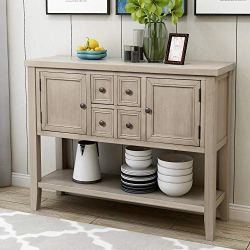 P PURLOVE Console Table Buffet Sideboard Sofa Table with Storage Drawers Cabinets and Bottom Shelf (Retro Grey)