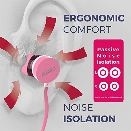51KHQBZo9gL AGARO - 33235 Rejoice SH100 Extra Bass in-Ear Earphone with Mic & Passive Noise Isolation (Pink)