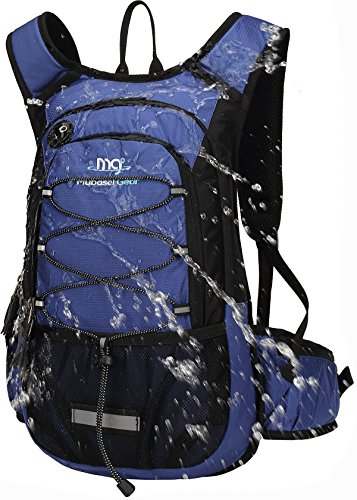 Mubasel Gear Insulated Hydration Backpack Pack with 2L BPA Free Bladder - Keeps Liquid Cool up to 4 Hours – for Running, Hiking, Cycling, Camping (Navy)