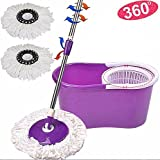 Goplus Microfiber Spining Magic Spin Mop W/bucket 2 Heads Rotating 360° Easy Floor Mop (Purple)