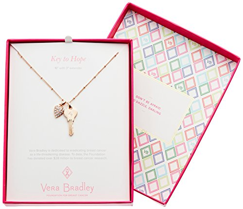 "51KJVlLdETL Charm necklace featuring pavé details. Gift-packaged on a card that reads ""Key to Hope"" Key style tie in with Vera Bradley Foundation benefitting Breast Cancer Research."