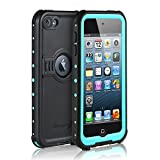 Waterproof Case for iPod 6/iPod 5, Merit Knight Series Waterproof Shockproof Dirtproof Snowproof Case Cover with Kickstand for Apple iPod Touch 5th/6th Generation for Diving (Aqua Blue)