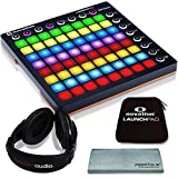 Novation Launchpad MK II Ableton LiveController Bundle with Novation Launchpad Soft Carry Sleeve + Headphones + FiberTique Cleaning Cloth