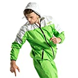DNRZY Sauna Sweat Suits Men for Weight Lose Slimming Running Sport Suits Fat Burner Sweat Workout Clothes Fitness Durable Hooded Jacket Gym Training, 3XL