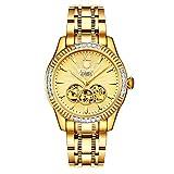 BINLUN Men's 18K Gold-Plated Automatic Skeleton Watches Luminous Waterproof Watches for Men Diamonds ...