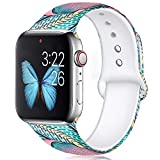 KOLEK Floral Bands Compatible with Apple Watch 44mm//42mm, Silicone Fadeless Pattern Printed Replacement Bands for iWatch Series 4/3/2/1, S/M