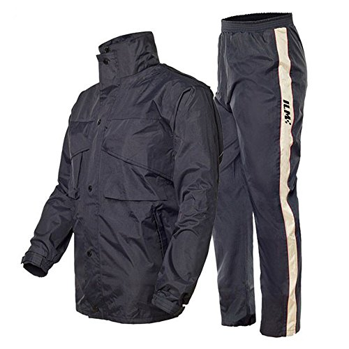 ILM Motorcycle Rain Suit - Two Piece Rain Gear with Jacket and Pants for Women and Men (XL, Navy Blue)