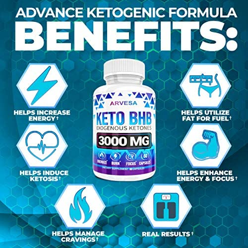 Keto Diet Pills - 5X Dose (2 pack | 3000mg Keto BHB) - Best Exogenous Ketones BHB Supplement for Women and Men - Boost Energy & Focus, Support Metabolism - Made in USA - 120 Capsules 6