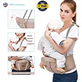 Baby Hip Seat Carrier Waist Stool for Infant Toddler with Adjustable Back Strain Relief Strap- Safety Certified Soft Baby Front Carrier (Tan)