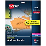 Avery Glossy Crystal Clear Address Labels for Laser & Inkjet Printers, 1' x 2-5/8', 300 Labels (6521)