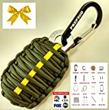 Paracord Survival Grenade Keychain (24pc)--Moms Feel Safe; Your Kids Can Get Food, Fire & Shelter When Lost--Cool Gadget Gifts for Him or Her Dad Boyfriend Men--Camping Hiking Hunting Boy Scout Kit