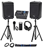 Samson Expedition XP300 300w 6' PA DJ Speakers+Mixer+Stands+Headphones+Mic+Bag