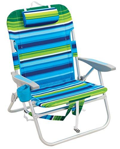 Rio Beach Big Guy Backpack Chair, Blue/Green Stripe