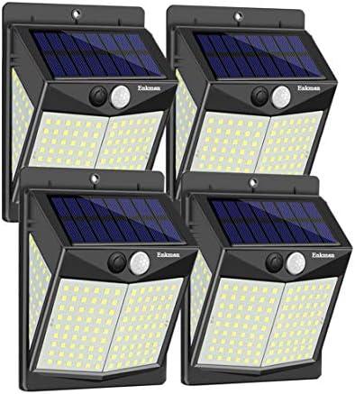 Enkman Solar Lights Outdoor [4 Pack/3 Modes/140 LEDs] Wireless Motion Sensor Ooutdoor Lights with Wide Angle IP65 Waterproof for Deck Post Door Wall Yard Garden Patio Yard Deck Garage Fence Pool