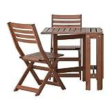 Ikea ÄPPLARÖ Outdoor Wooden Folding Bistro Table and 2 folding chairs