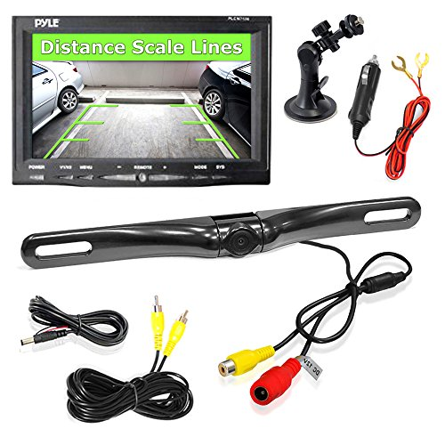 Rear View Backup Car Camera - Screen Monitor System w/Parking and Reverse Assist Safety Distance Scale Lines, Waterproof & Night Vision, 7