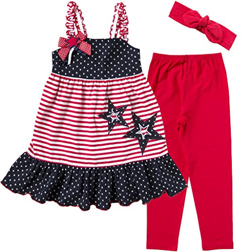 Good Lad Infant/Toddler/4/6X Girls July 4th Knit Dress with Headband and Gift Knit Legging (4T) Navy