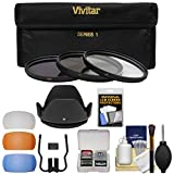 Vivitar 3-Piece Multi-Coated HD Filter Set (72mm UV/CPL/ND8) with Lens Hood + Diffusers + Accessory Kit