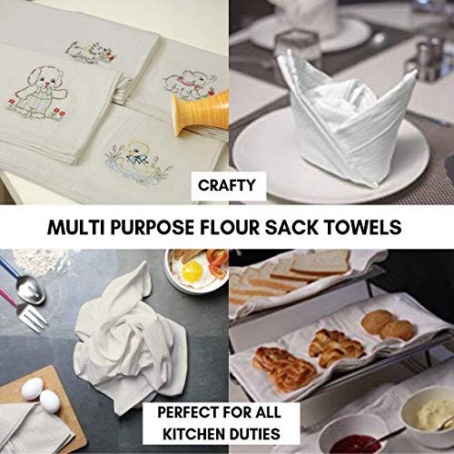 Linen and Towel 12 Pack Premium Flour-Sack Towels, 28 Inch x 28 Inch Natural, Ring Spun Cotton, 130 Thread Count Multi-purpose Kitchen Napkin, Highly Absorbent Flour-Sack Dish Towels