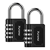Puroma 2 Pack Combination Lock 4 Digit Padlock for School Gym Sports Locker, Fence, Toolbox, Case, Hasp Storage , Black
