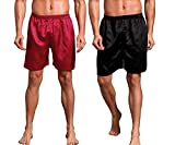 Admireme Men's Satin Boxers Shorts Silk Pajamas Shorts Boxer Sleep Work Travel Underwear M-3XL