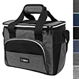 OPUX Thermal Insulated Large Lunch Bag for Travel   Soft Collapsible Mini Cooler Bag for Family Picnic, Beach, Camping   Leakproof Lunch Box for Work, Office   Fits 16 Cans (Charcoal)