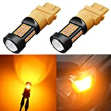 Alla Lighting 1000 Lumens 3030 36-SMD Extremely Super Bright Amber Yellow 3057 3056 T25 3157 3156 LED Bulbs High Power LED Turn Signal Blinker Lights Bulb Lamps Replacement (Amber Yellow)