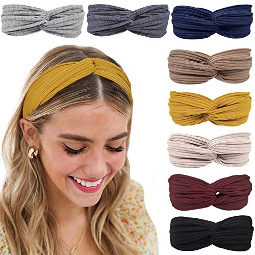 Tobeffect Headbands for Women Twist Knotted, Fashion Women Headband, Cute Hair Bands for Women's Hair 8 Pack Solid Colors