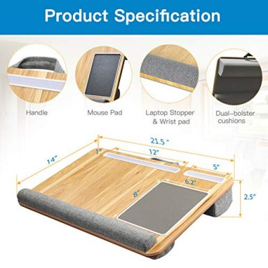Lap-Desk-Fits-up-to-17-inches-Laptop-Desk-Built-in-Mouse-Pad-Wrist-Pad-for-Notebook-MacBook-Tablet-Laptop-Stand-with-Tablet-Pen-Phone-Holder-Wood-Grain