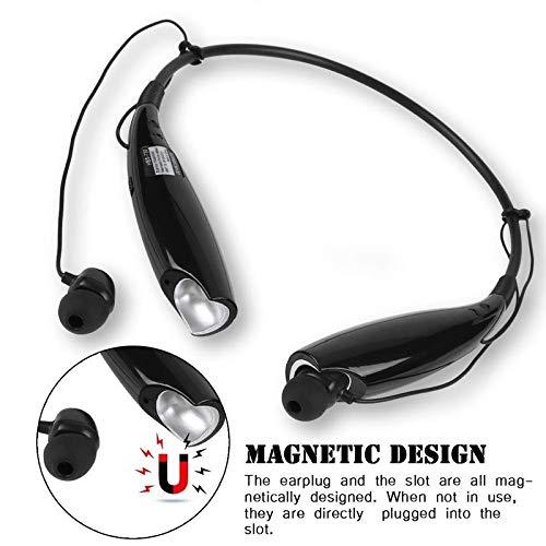 51KZ7bSntSL Auli HBS 730 Wireless Neckband Bluetooth Earphone Headset Earbud Portable Headphone Handsfree Sports Running Sweatproof Compatible Android Smartphone Noise Cancellation - (Black)