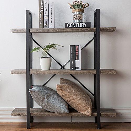 HSH Furniture 3 Shelf Bookcase Rustic Bookshelf Vintage Industrial
