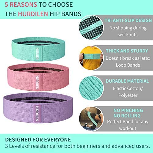 Hurdilen Resistance Bands Loop Exercise Bands Booty Bands,Workout Bands Hip Bands Wide Resistance Bands Hip Resistance Band for Legs and Butt,Activate Glutes and Thigh 10