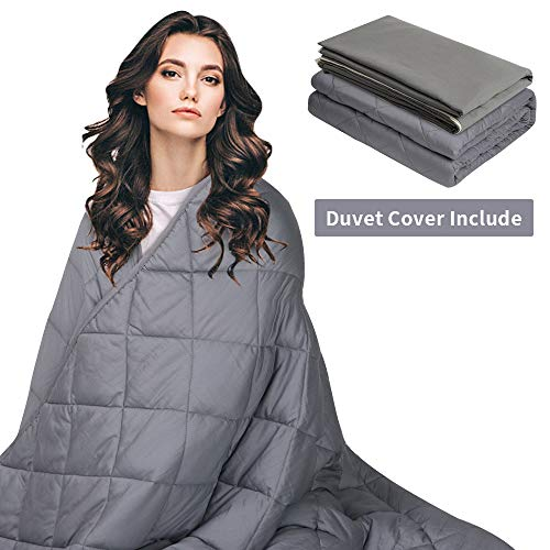 AmyHomie Adult Weighted Blanket & Removable Duvet Cover(15lbs for Individual 140-190 lbs, 60' x 80', Queen Size), 2.0 Heavy Blanket Premium Cotton with Glass Beads