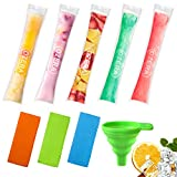 Ozera 150 Pack Popsicle Molds Bags, Disposable Ice Pop Bags Pouches with a Silicone Funnel & Freeze Pop Holder, Ice Candy Bags