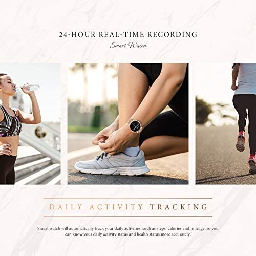 """GOKOO Smart Watch for Women Bluetooth Fitness Tracker with Heart Rate Sleep Blood Pressure Monitor Calories Pedometer Sports Activity Tracker Smartwatchs IP67 Waterproof 1.09"""" Full Touch (Gold) 7"""