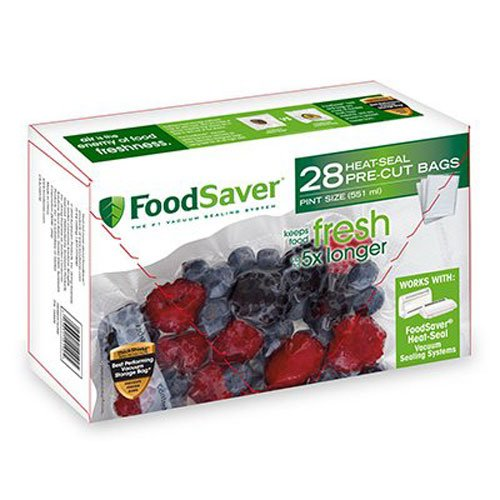 FoodSaver 1-Pint Precut Vacuum Seal Bags with BPA-Free Multilayer Construction for Food Preservation, 28 Count