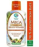 Mega Premium Liquid Multivitamin -Natural Anti Aging Multi-Vitamin w/20 Vitamins, 70 Minerals, 21 Amino Acids, CoQ10 & Organic Aloe Vera- Orange Flavor- 98% Absorption- 32 Serv